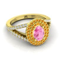 Ornate Oval Halo Dhala Pink Tourmaline Ring with Citrine and Diamond in 18k Yellow Gold
