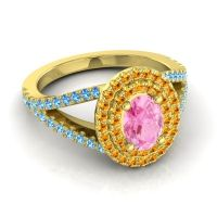 Ornate Oval Halo Dhala Pink Tourmaline Ring with Citrine and Swiss Blue Topaz in 14k Yellow Gold