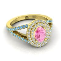 Ornate Oval Halo Dhala Pink Tourmaline Ring with Diamond and Swiss Blue Topaz in 14k Yellow Gold