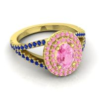 Ornate Oval Halo Dhala Pink Tourmaline Ring with Blue Sapphire in 18k Yellow Gold