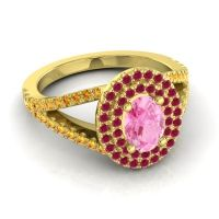 Ornate Oval Halo Dhala Pink Tourmaline Ring with Ruby and Citrine in 18k Yellow Gold