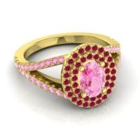 Ornate Oval Halo Dhala Pink Tourmaline Ring with Ruby in 14k Yellow Gold