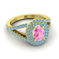Ornate Oval Halo Dhala Pink Tourmaline Ring with Swiss Blue Topaz in 14k Yellow Gold