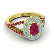 Ornate Oval Halo Dhala Ruby Ring with Aquamarine in 18k Yellow Gold