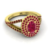 Ornate Oval Halo Dhala Ruby Ring with Garnet in 14k Yellow Gold