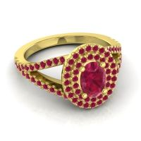Ornate Oval Halo Dhala Ruby Ring in 18k Yellow Gold