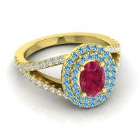 Ornate Oval Halo Dhala Ruby Ring with Swiss Blue Topaz and Diamond in 14k Yellow Gold