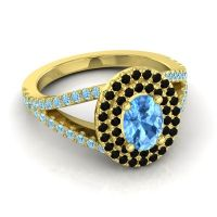 Ornate Oval Halo Dhala Swiss Blue Topaz Ring with Black Onyx and Aquamarine in 14k Yellow Gold