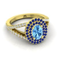 Ornate Oval Halo Dhala Swiss Blue Topaz Ring with Blue Sapphire and Diamond in 18k Yellow Gold