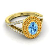Ornate Oval Halo Dhala Swiss Blue Topaz Ring with Citrine and Diamond in 18k Yellow Gold