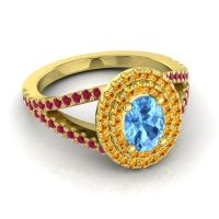 Ornate Oval Halo Dhala Swiss Blue Topaz Ring with Citrine and Ruby in 18k Yellow Gold