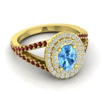Ornate Oval Halo Dhala Swiss Blue Topaz Ring with Diamond and Garnet in 14k Yellow Gold