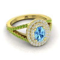 Ornate Oval Halo Dhala Swiss Blue Topaz Ring with Diamond and Peridot in 14k Yellow Gold