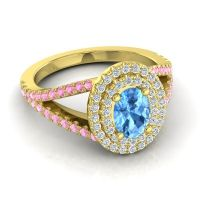Ornate Oval Halo Dhala Swiss Blue Topaz Ring with Diamond and Pink Tourmaline in 14k Yellow Gold