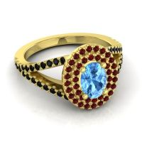 Ornate Oval Halo Dhala Swiss Blue Topaz Ring with Garnet and Black Onyx in 14k Yellow Gold