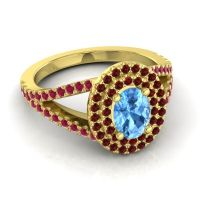 Ornate Oval Halo Dhala Swiss Blue Topaz Ring with Garnet and Ruby in 18k Yellow Gold