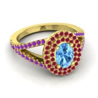 Ornate Oval Halo Dhala Swiss Blue Topaz Ring with Ruby and Amethyst in 18k Yellow Gold