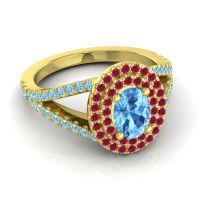 Ornate Oval Halo Dhala Swiss Blue Topaz Ring with Ruby and Aquamarine in 18k Yellow Gold