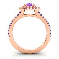 Ornate Oval Halo Dhala Amethyst Ring with Ruby and Blue Sapphire in 18K Rose Gold