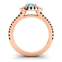 Ornate Oval Halo Dhala Swiss Blue Topaz Ring with Black Onyx in 14K Rose Gold
