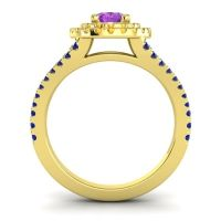 Ornate Oval Halo Dhala Amethyst Ring with Citrine and Blue Sapphire in 14k Yellow Gold