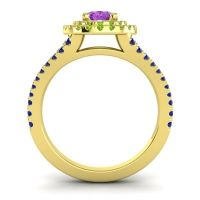 Ornate Oval Halo Dhala Amethyst Ring with Peridot and Blue Sapphire in 18k Yellow Gold