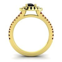 Ornate Oval Halo Dhala Black Onyx Ring with Garnet in 18k Yellow Gold