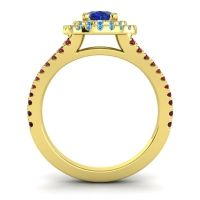 Ornate Oval Halo Dhala Blue Sapphire Ring with Swiss Blue Topaz and Garnet in 18k Yellow Gold