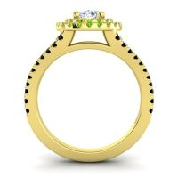 Ornate Oval Halo Dhala Diamond Ring with Peridot and Black Onyx in 18k Yellow Gold