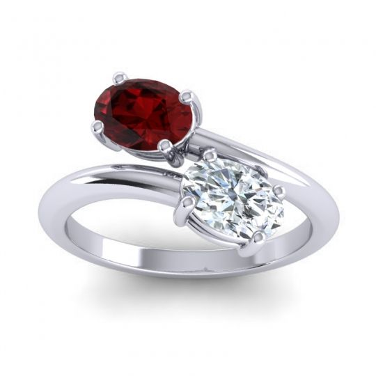 Bypass Oval Yamaja Garnet Ring with Diamond in 14k White Gold