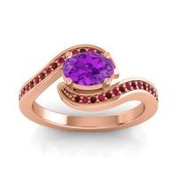 Bypass Oval Pave Phala Amethyst Ring with Ruby and Garnet in 14K Rose Gold