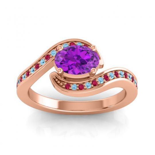 Bypass Oval Pave Phala Amethyst Ring with Aquamarine and Ruby in 14K Rose Gold