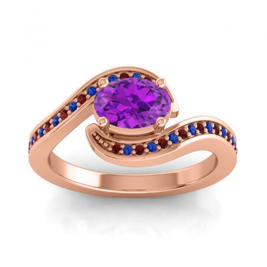 Bypass Oval Pave Phala Amethyst Ring with Blue Sapphire and Garnet in 14K Rose Gold