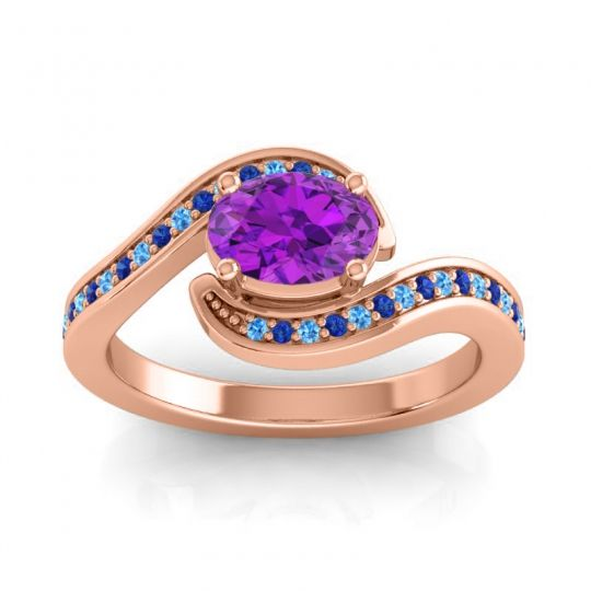 Bypass Oval Pave Phala Amethyst Ring with Blue Sapphire and Swiss Blue Topaz in 14K Rose Gold