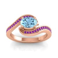 Bypass Oval Pave Phala Aquamarine Ring with Amethyst in 14K Rose Gold