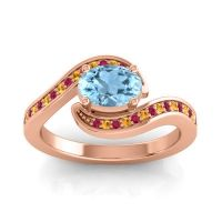 Bypass Oval Pave Phala Aquamarine Ring with Citrine and Ruby in 14K Rose Gold