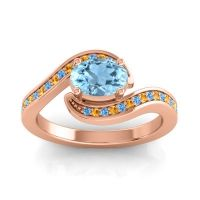 Bypass Oval Pave Phala Aquamarine Ring with Citrine and Swiss Blue Topaz in 14K Rose Gold