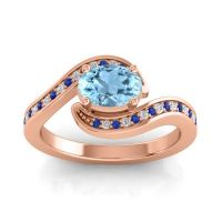 Bypass Oval Pave Phala Aquamarine Ring with Diamond and Blue Sapphire in 18K Rose Gold