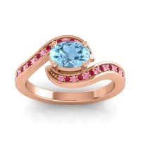 Bypass Oval Pave Phala Aquamarine Ring with Ruby and Pink Tourmaline in 18K Rose Gold
