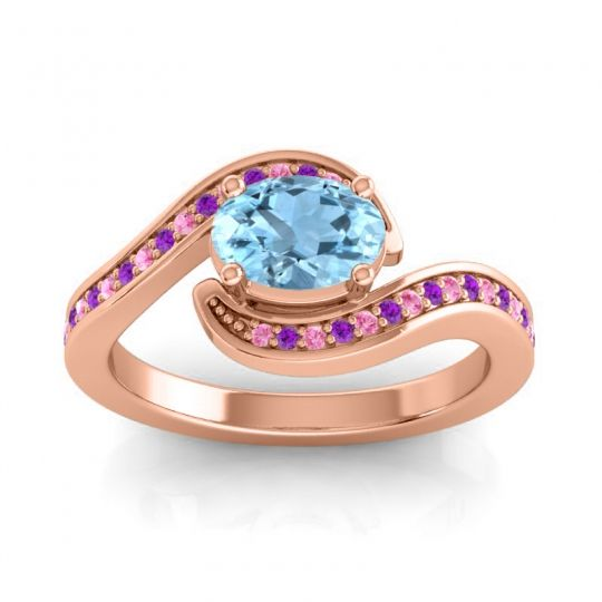 Bypass Oval Pave Phala Aquamarine Ring with Amethyst and Pink Tourmaline in 14K Rose Gold