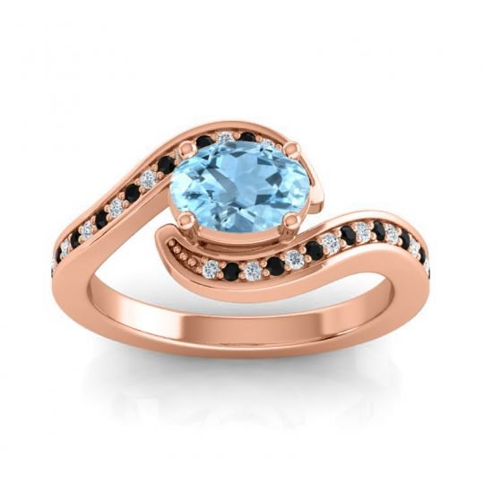 Bypass Oval Pave Phala Aquamarine Ring with Black Onyx and Diamond in 18K Rose Gold