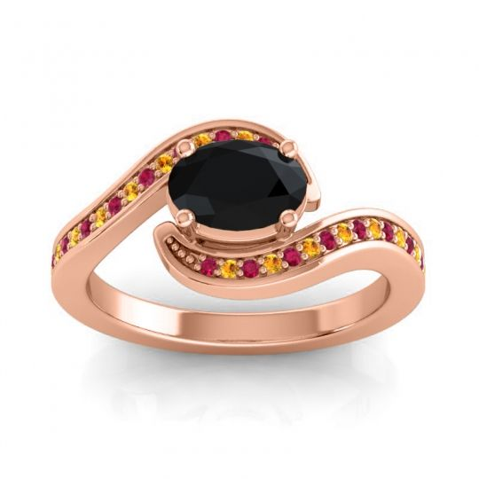 Bypass Oval Pave Phala Black Onyx Ring with Citrine and Ruby in 18K Rose Gold