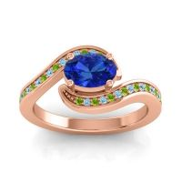 Bypass Oval Pave Phala Blue Sapphire Ring with Aquamarine and Peridot in 18K Rose Gold