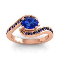 Bypass Oval Pave Phala Blue Sapphire Ring with Black Onyx in 14K Rose Gold
