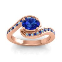 Bypass Oval Pave Phala Blue Sapphire Ring with Aquamarine in 18K Rose Gold