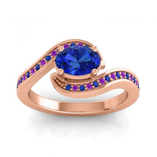 Bypass Oval Pave Phala Blue Sapphire Ring with Amethyst in 14K Rose Gold