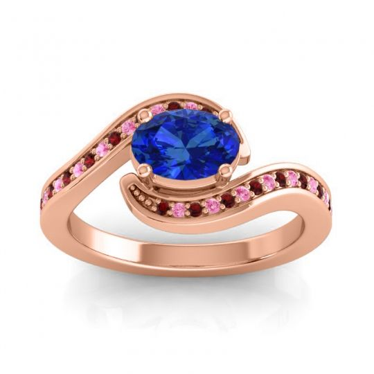 Bypass Oval Pave Phala Blue Sapphire Ring with Pink Tourmaline and Garnet in 18K Rose Gold