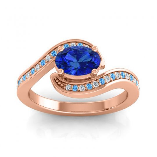 Bypass Oval Pave Phala Blue Sapphire Ring with Swiss Blue Topaz and Diamond in 14K Rose Gold