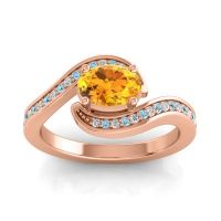 Bypass Oval Pave Phala Citrine Ring with Aquamarine and Diamond in 18K Rose Gold