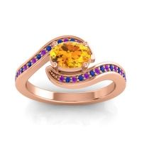 Bypass Oval Pave Phala Citrine Ring with Blue Sapphire and Amethyst in 18K Rose Gold